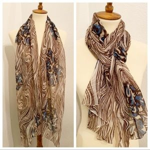 Brown, Cream & Blue Chiffon Scarf Abstract Zebra